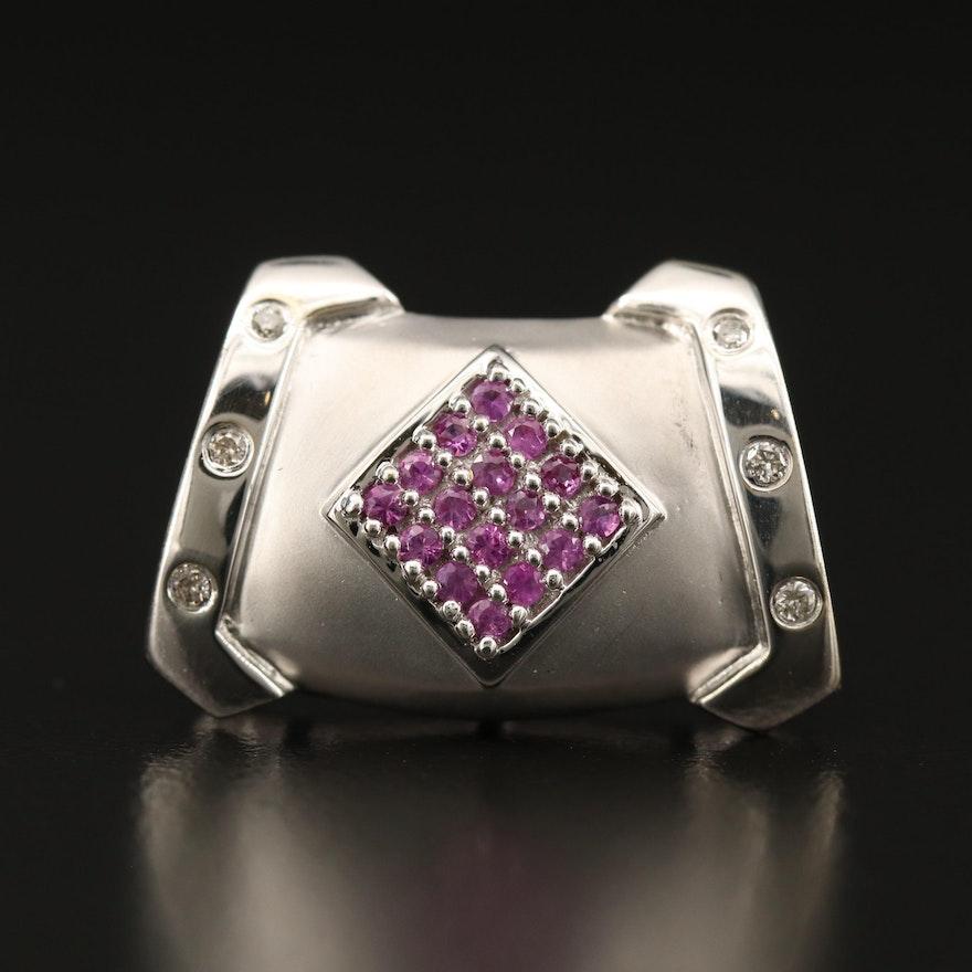 14K Pink Sapphire and Diamond Slide Pendant