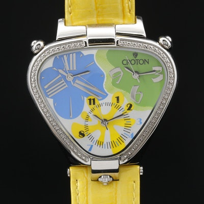 Croton 3 Times Stainless Steel Quartz Wristwatch