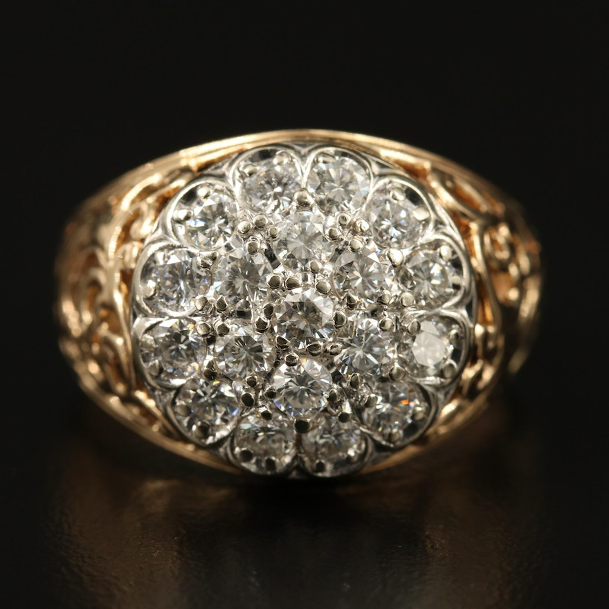 14K Diamond Cluster Openwork Ring
