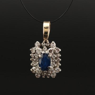 14K Sapphire and Diamond Pendant