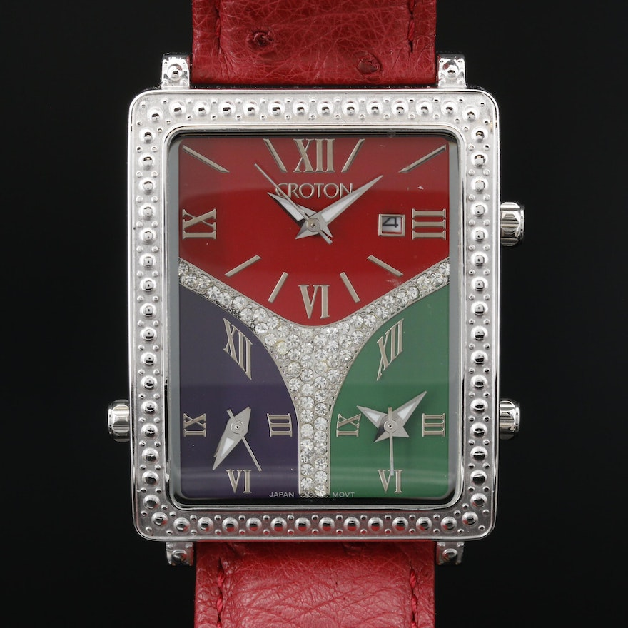 Croton 3 Times Stainless Steel Quartz Wristwatch with Glass Crystal Accents