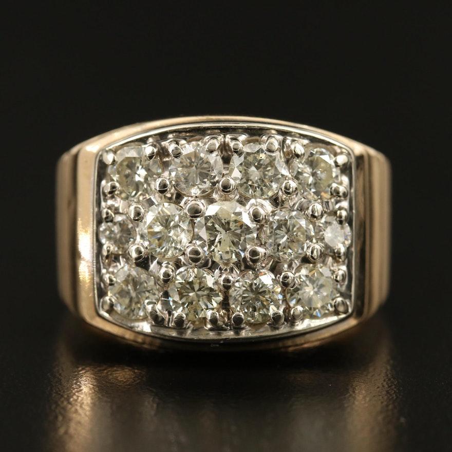14K 2.63 CTW Diamond Cluster Ring