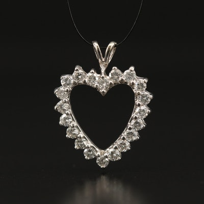 14K 1.00 CTW Diamond Heart Pendant