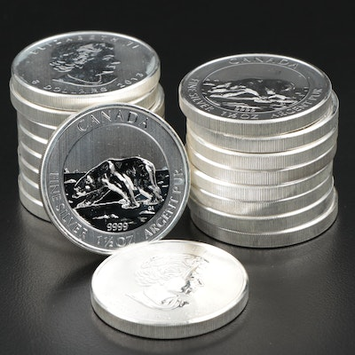 Roll of Eighteen 2013 $8 Canadian Maple Leaf Silver Bullion Coins