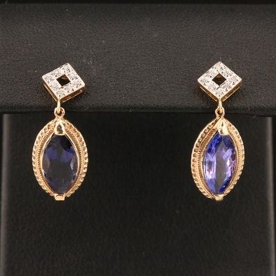 14K Diamond, Iolite and Tanzanite Drop Earrings