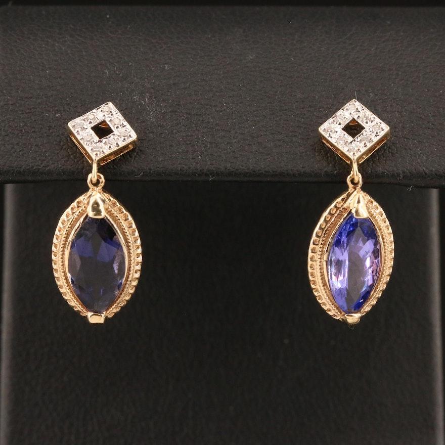 14K Diamond, Iolite and Tanzanite Drop Earrings