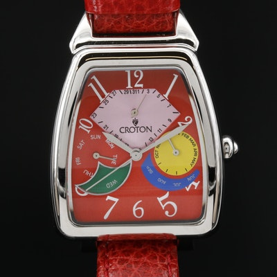 Croton Triple Date Stainless Steel Quartz Wristwatch