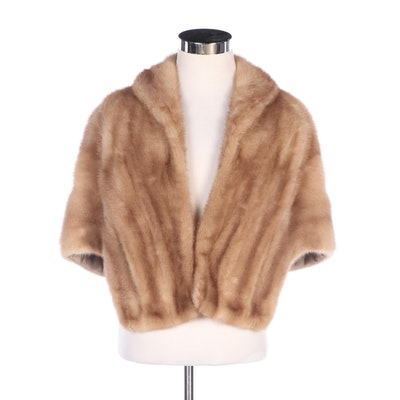 Blonde Mink Fur Stole with Shawl Collar