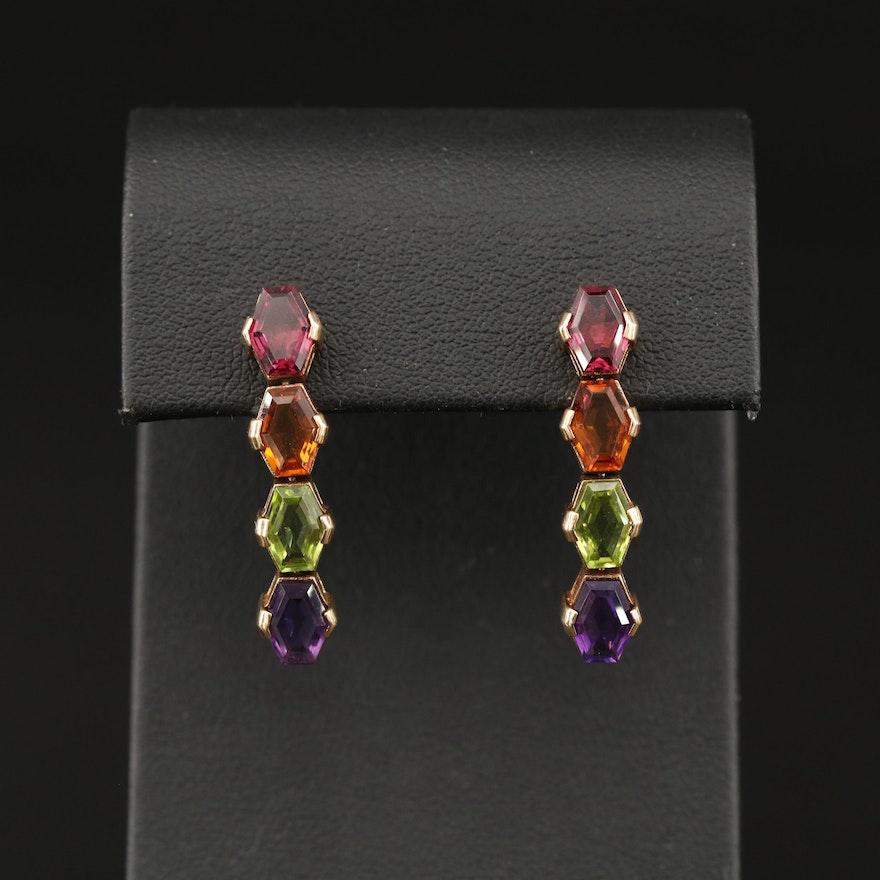 14K Drop Earrings Featuring Garnet, Amethyst, Citrine and Peridot