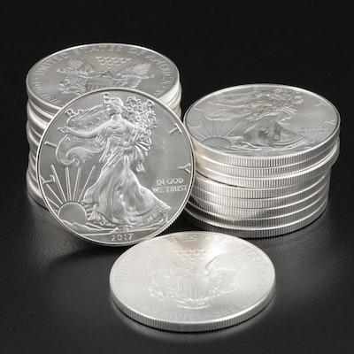 Roll of Twenty 2017 American Silver Eagle Bullion Coins