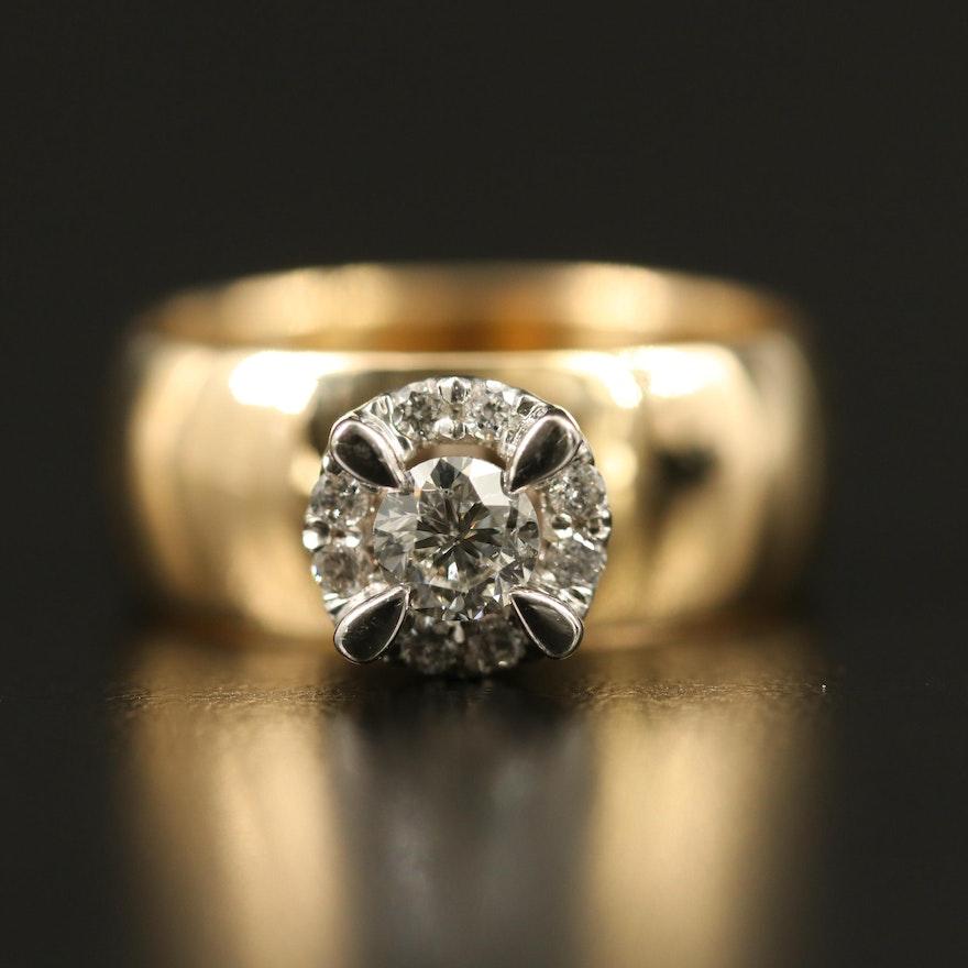 14K Diamond Ring Featuring Halo Design