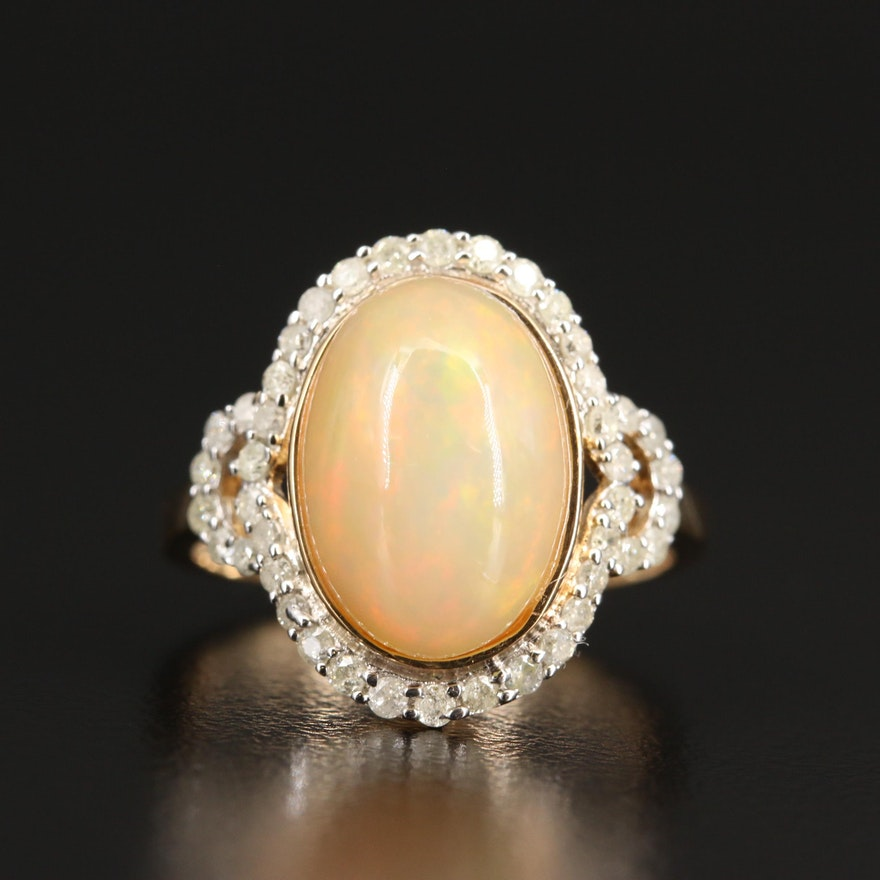 Sterling Silver Opal Ring with Diamond Halo