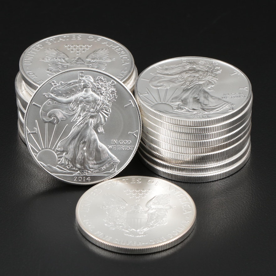 Roll of Twenty 2014 American Silver Eagle Bullion Coins