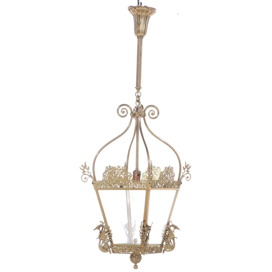 Brass Pendant Light with Dragon Cornices, Ginkgo Leaves and Blossoms, Vintage