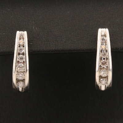 10K Diamond J-Hoop Earrings