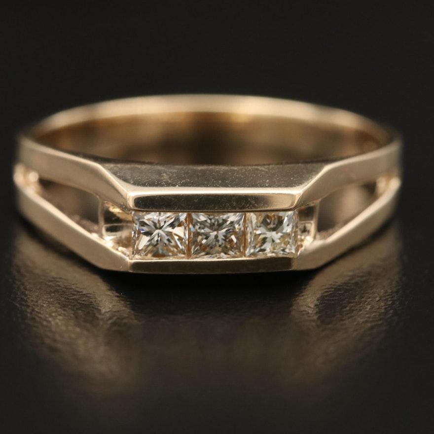 10K Diamond Split Shank Ring