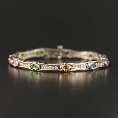 14K Multi-Colored Sapphire and Diamond Link Bracelet