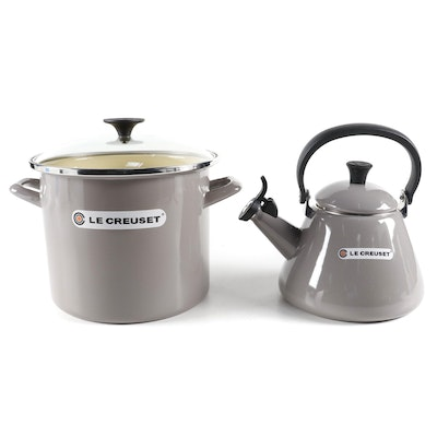 Le Creuset Enameled Metal Kettle and Stock Pot with Glass Lid