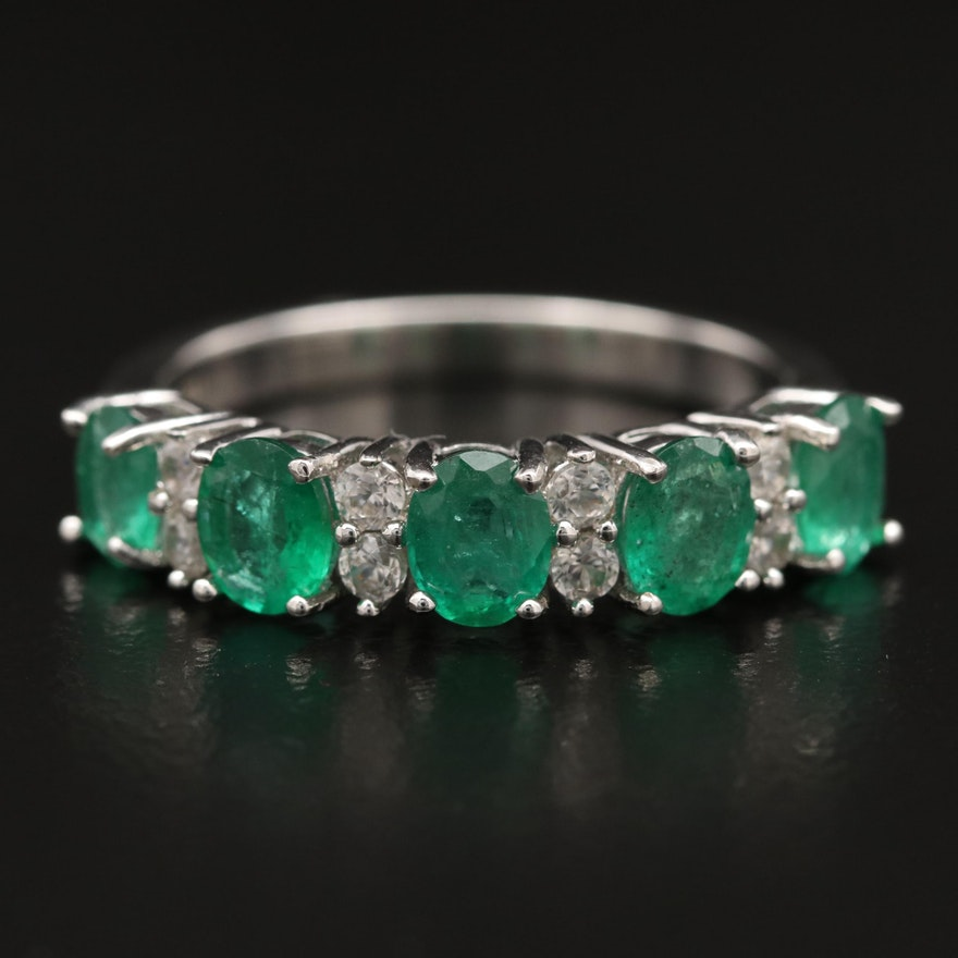 Sterling Silver Emerald and Zircon Ring