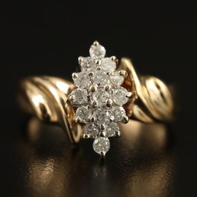 10K Diamond Cluster Ring with Ridged Shoulders