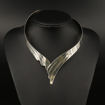 Sterling Silver Torque Necklace with Winged Motif