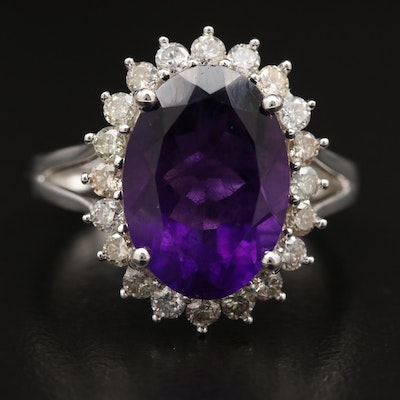 Sterling Silver Amethyst Ring with Diamond Halo