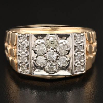 14K 1.00 CTW Diamond Nugget Motif Ring