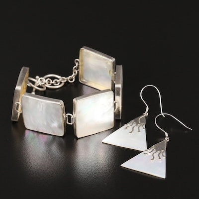 Sterling Silver Mother of Pearl Panel Link Bracelet and Dangle Earrings