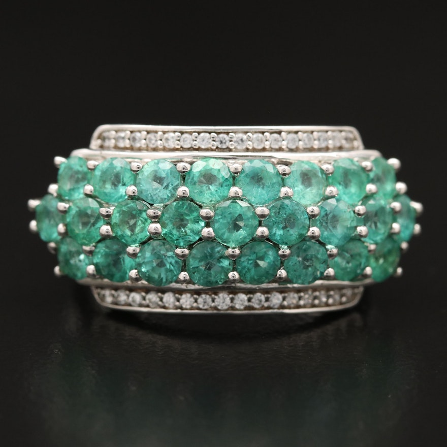 Sterling Silver Emerald and Sapphire Cluster Band Ring