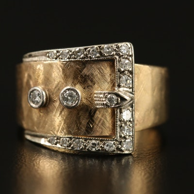 Retro 14K Diamond Buckle Ring with Florentine Accents