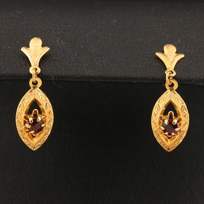 14K Garnet Navette  Drop Earrings