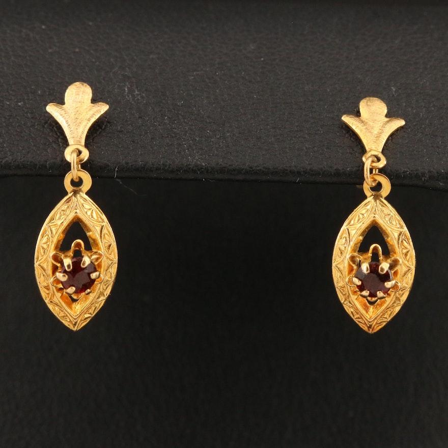 14K Garnet Navette  Drop Earrings