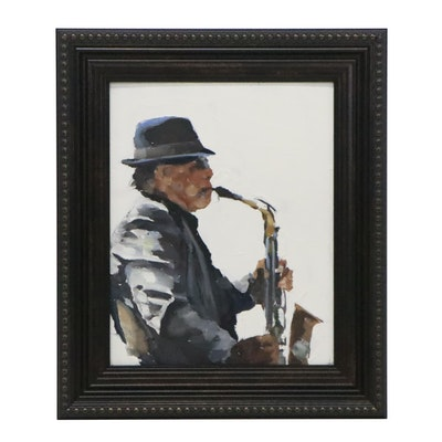 James Coates Oil Painting of Saxophone Player, 21st Century