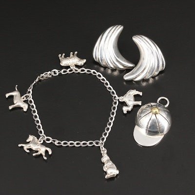 Selection of Sterling Silver Jewelry Featuring Animal Themed Charm Bracelet