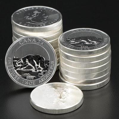 Roll of Eighteen 2013 $8 Canadian Maple Leaf Silver Bullion Coins