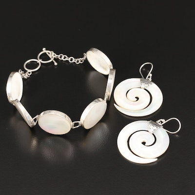 Sterling Silver Mother of Pearl Panel Link Bracelet and Swirl Dangle Earrings