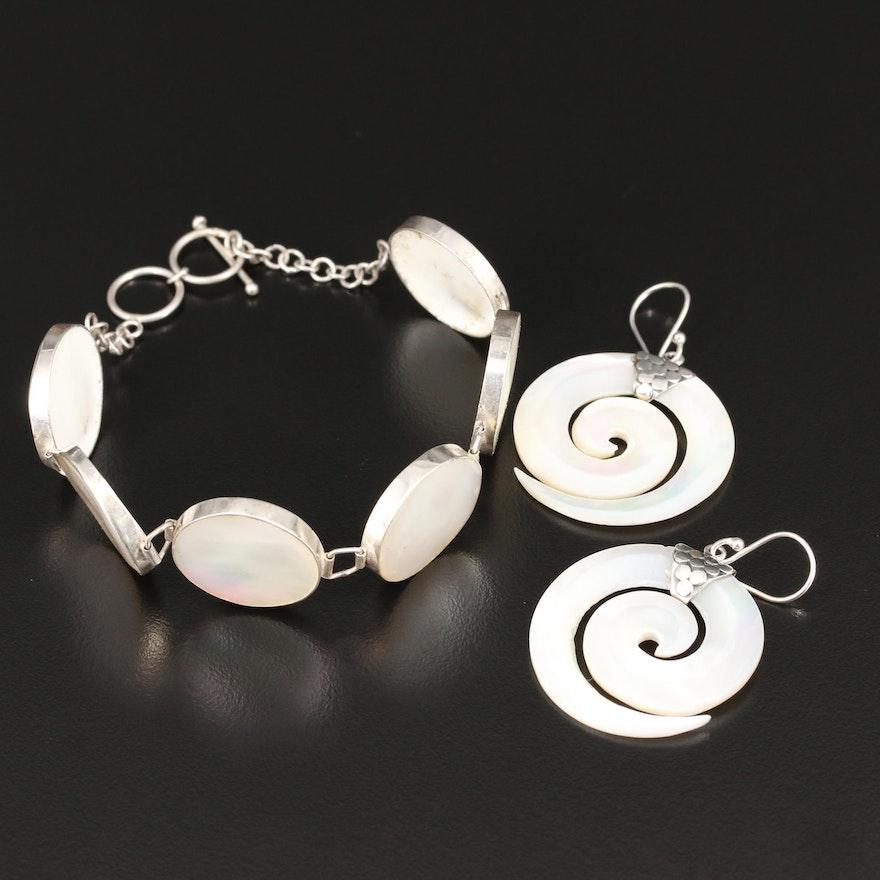 Sterling Silver Mother of Pearl Panel Link Bracelet and Swirl Dangle Earrings