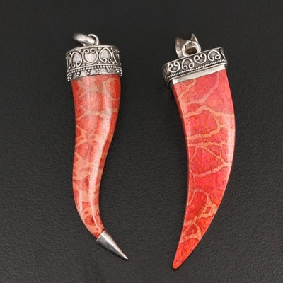 Sterling Silver Coral Drop Pendants
