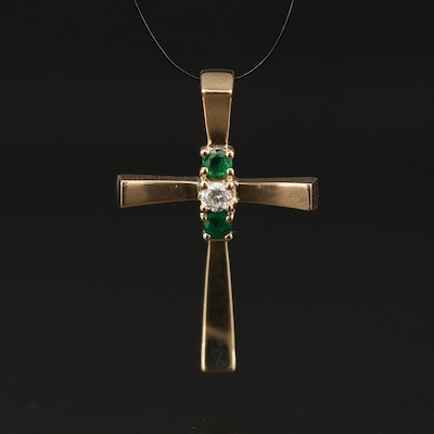 14K Diamond and Emerald Cross Pendant