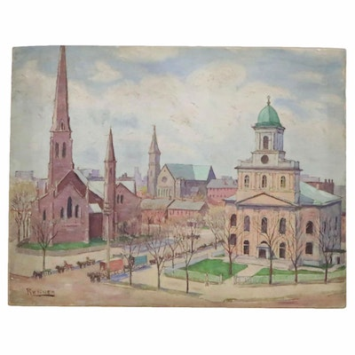 "Oil Painting ""Main and Church McKinley Procession,"" 20th Century"