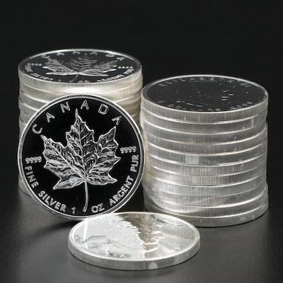 Roll of Twenty-Five 2009 $5 Canadian Maple Leaf Silver Bullion Coins