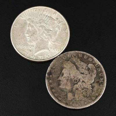 Key Date 1894 Morgan Dollar and Better Date 1935 Peace Silver Dollar