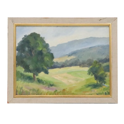 Emmett Pratt Oil Painting of Landscape with Mountains and Valley, Circa 1970