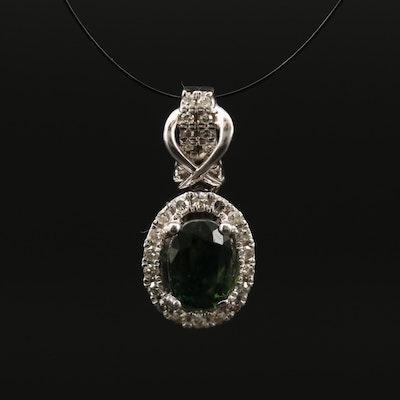 10K Sapphire and Diamond Pendant