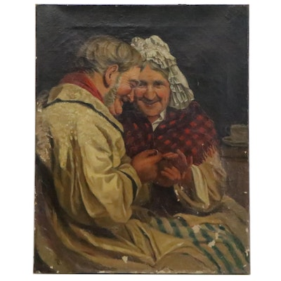 German Genre Scene Oil Painting of Proposal, 19th Century