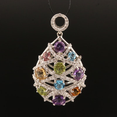 18K Pendant with Diamond, Tourmaline, Topaz, Citrine, Peridot and Amethyst
