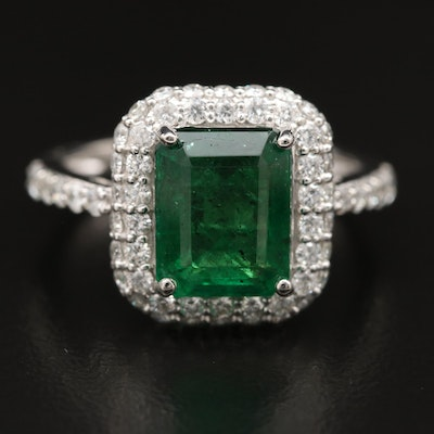 Platinum 2.91 CT Emerald and Diamond Halo Ring