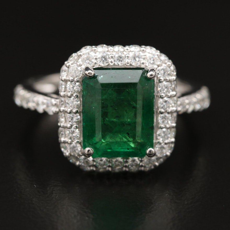 Platinum 2.91 CT Emerald and Diamond Halo Ring