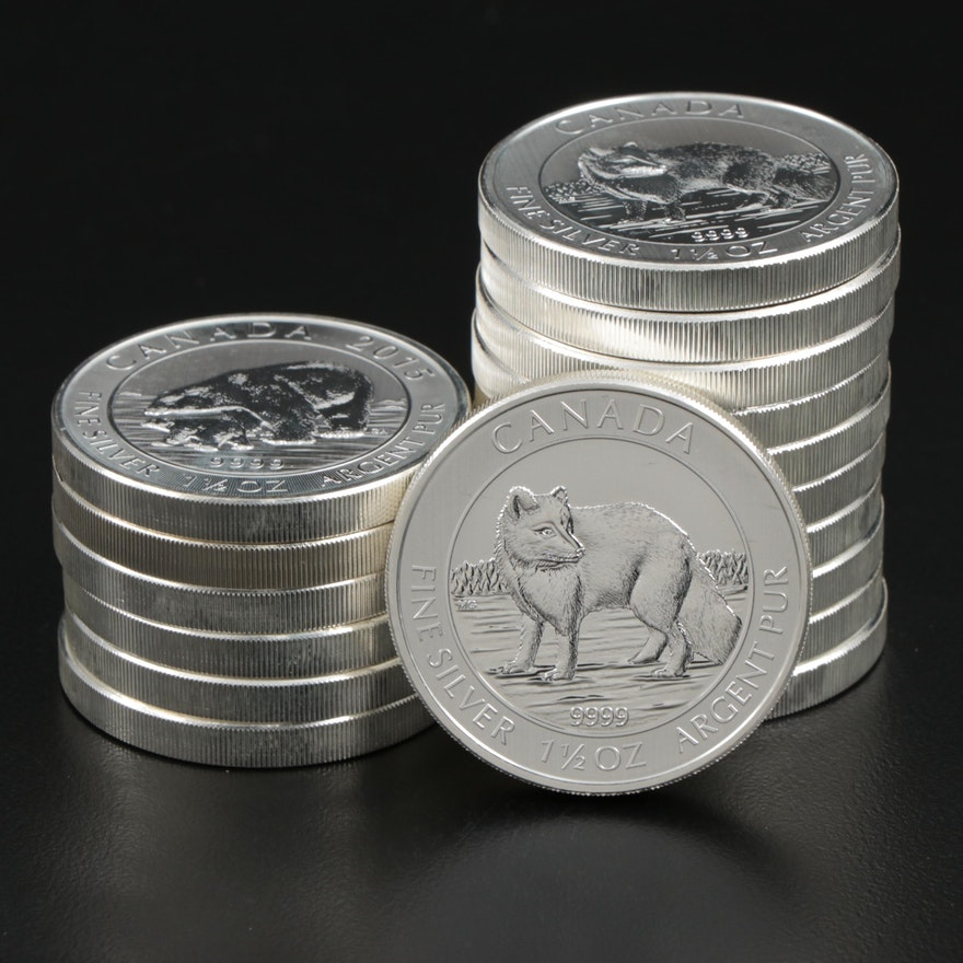 Roll of Seventeen 2014 $8 Canadian Maple Leaf Silver Bullion Coins