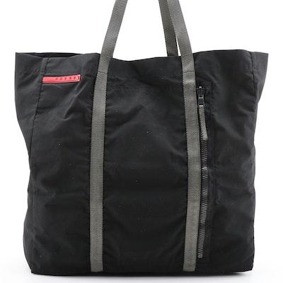 Prada Linea Rossa Tote Bag in Black Polyester Blend and Gray Grosgrain